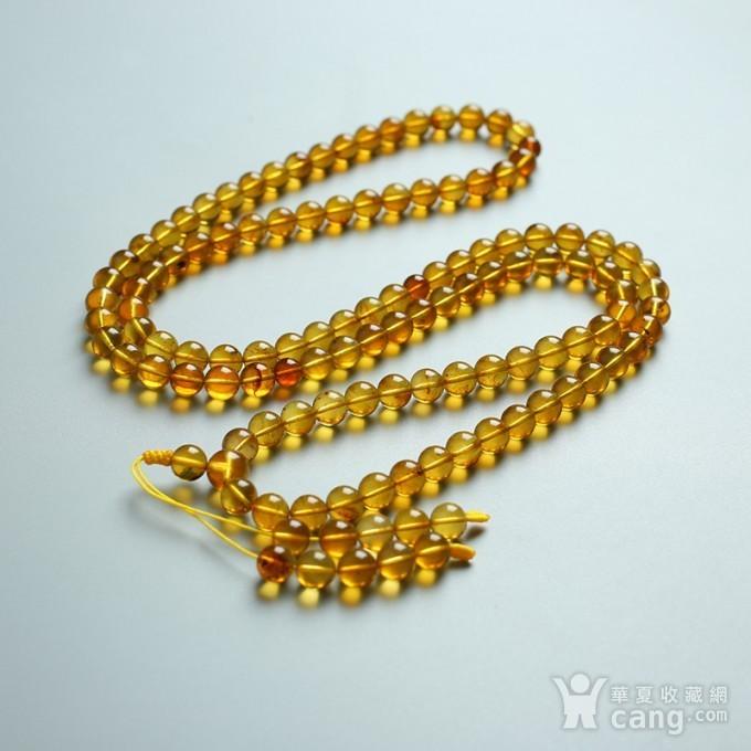 金棕缅甸琥珀108佛珠项链 7mm  24KH15图1