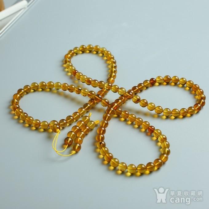 金棕缅甸琥珀108佛珠项链 7mm  24KH15图2