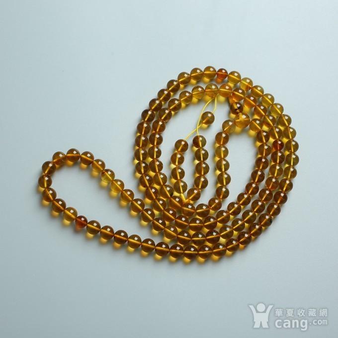 金棕缅甸琥珀108佛珠项链 7mm  24KH15图3