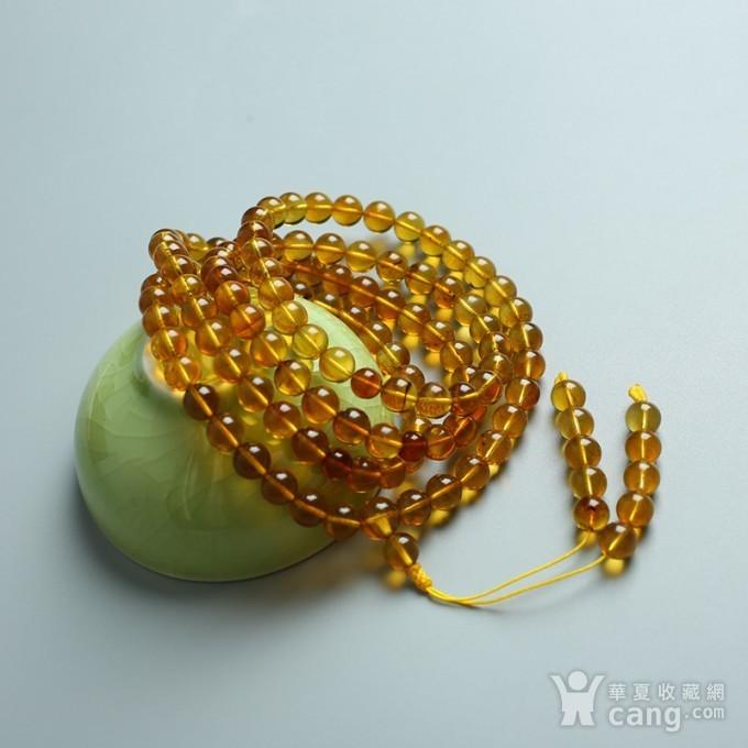 金棕缅甸琥珀108佛珠项链 7mm  24KH15图11