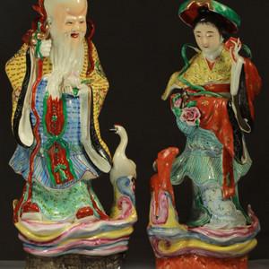 民国粉彩麻姑献寿和寿星祈福立像