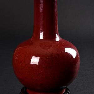 欧美回流 清 钧红釉长颈瓶