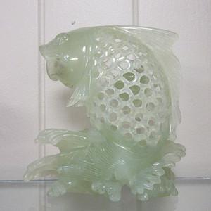 联盟 ck062青白玉如鱼得水通花雕件