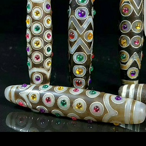 钻石 35 搓金镶宝石玛瑙天珠  单颗