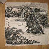 老山水画。吴湖