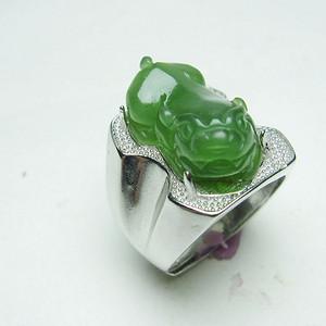 精品满绿和田碧玉貔貅戒指