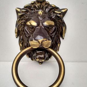 欧洲铜制镀金狮头大门环 11