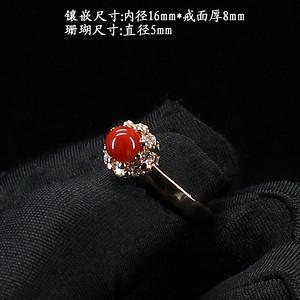 天然珊瑚戒指 银镶嵌8733