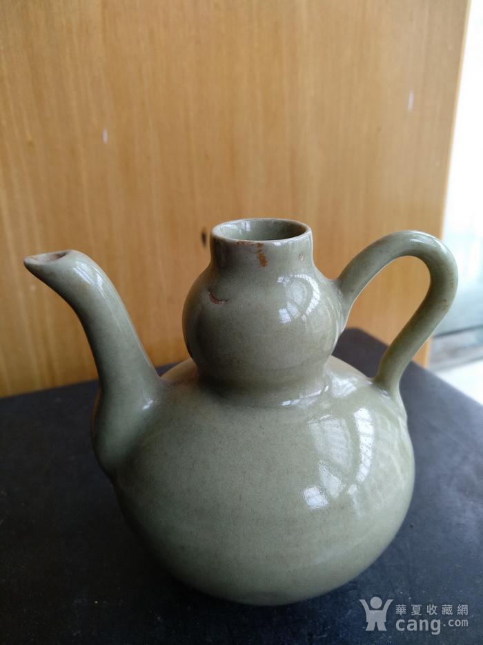 明晚豆青釉葫芦型酒壶,高8.3Cm图2