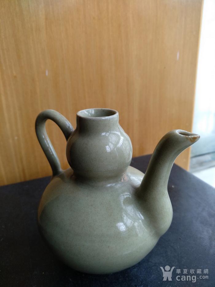 明晚豆青釉葫芦型酒壶,高8.3Cm图3