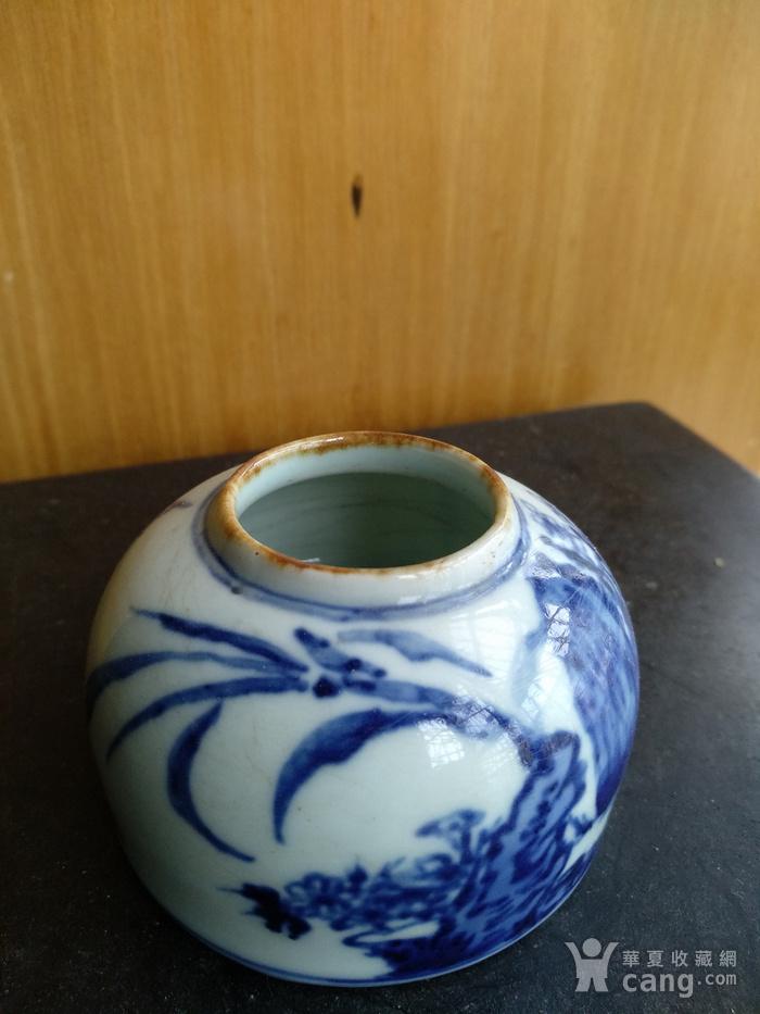 文房佳器。清晚 民国马蹄型青花水盂,高:4Cm,底径6.8Cm。图3