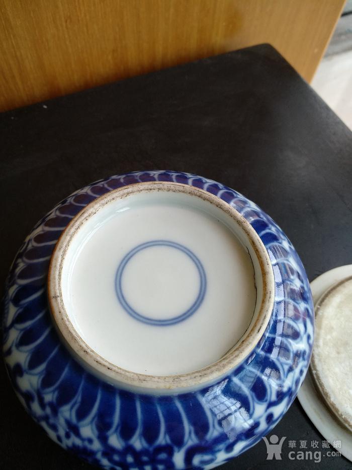 清代青花带盖水呈,高:4Cm,口径5.8Cm。精美文房佳器。图4