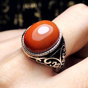 鸿运当头!天然柿子红满红玛瑙镶复古纯银大蛋戒指!