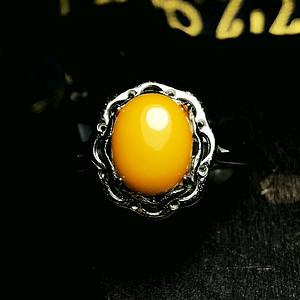 老蜜鸡油黄!波罗的海天然蜜蜡满蜜黄蜜纯银戒指!