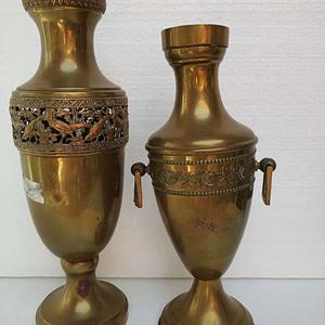 欧洲铜雕花鸟瓶二只 16