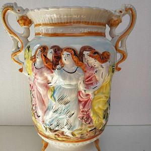 欧洲艺术瓷:粉彩浮雕人物故事双耳尊 13