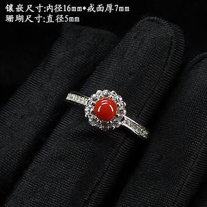 天然珊瑚戒指 银镶嵌8734