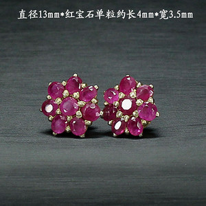 天然红宝石耳饰 银镶嵌0009