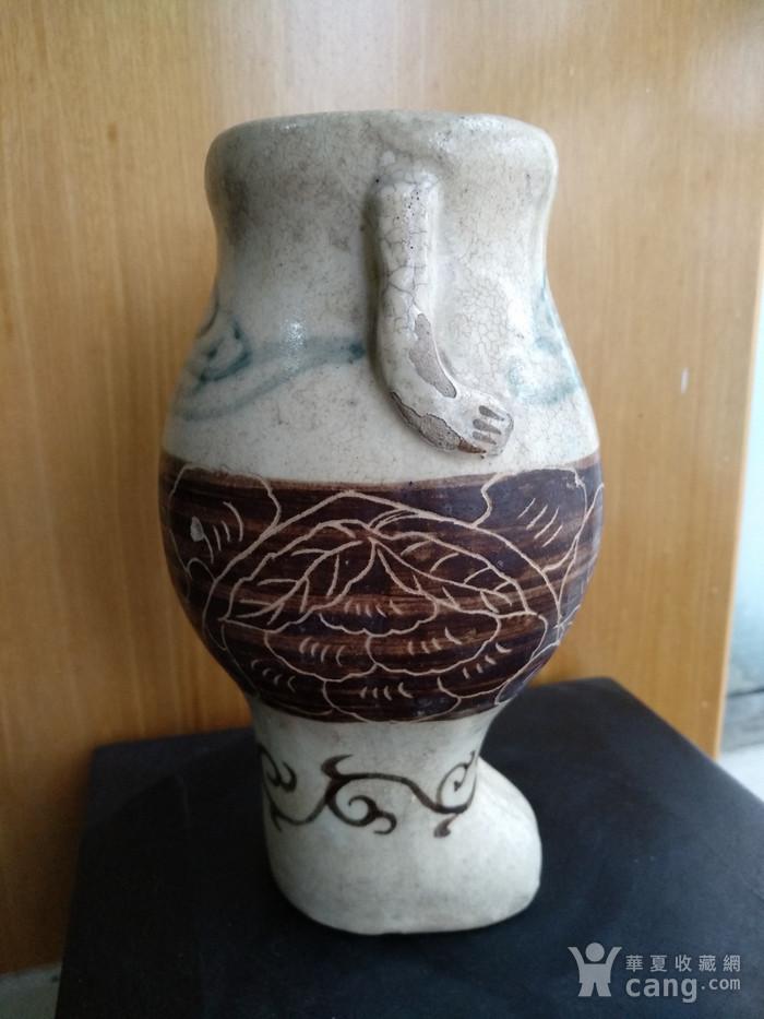 珍稀。宋磁州窑釉下绿彩 刻花 釉上褐彩瓶。高17.5Cm。图2