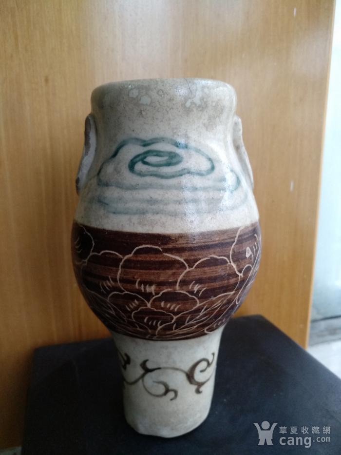 珍稀。宋磁州窑釉下绿彩 刻花 釉上褐彩瓶。高17.5Cm。图3