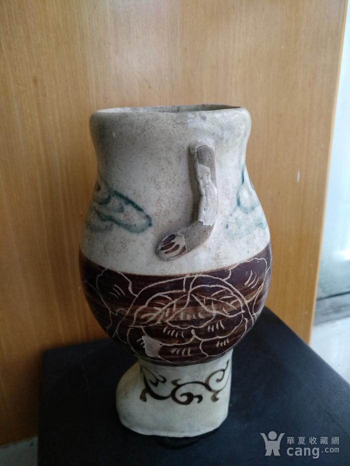 珍稀。宋磁州窑釉下绿彩 刻花 釉上褐彩瓶。高17.5Cm。图4