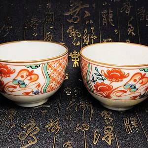 日本回流!漂亮粉彩茶碗茶杯茶盏一对!