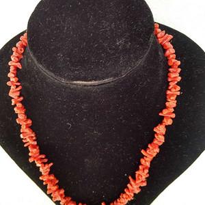 纯天然牛血红珊瑚条形项链  10