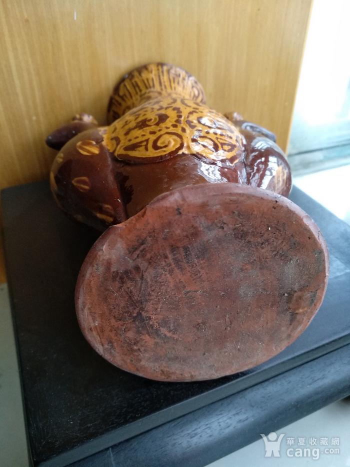 民国红陶紫红釉金彩双凤瓶,高:19Cm陈设佳器。图5