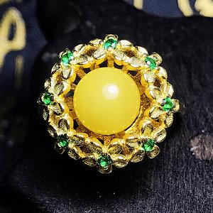 满蜜黄蜜!波罗的海天然蜜蜡完美正圆925纯银镀14K黄金戒指