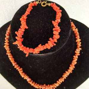 纯天然红珊瑚条状项链加手链 11