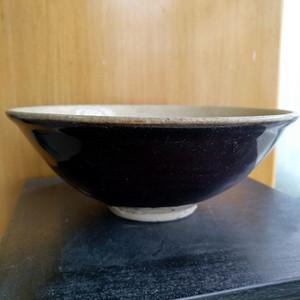 宋元,外紫釉内白釉碗,全品相。口径16.5Cm