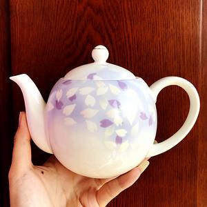 日本回流!全美品大吉窑宇野千代制浪漫紫樱花陶瓷茶壶!