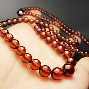 补血养颜!珍贵全通透玻璃体橙红色石榴石纯天然水晶项链!