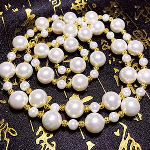 漂亮强光正圆12MM贝宝珠高品质亮白色海洋贝珠圆珠超长款项链