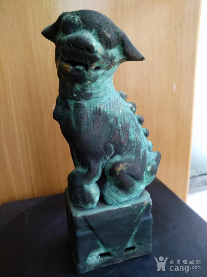 清早瓷胎铜釉仿生坐狮,高:16.8Cm图2