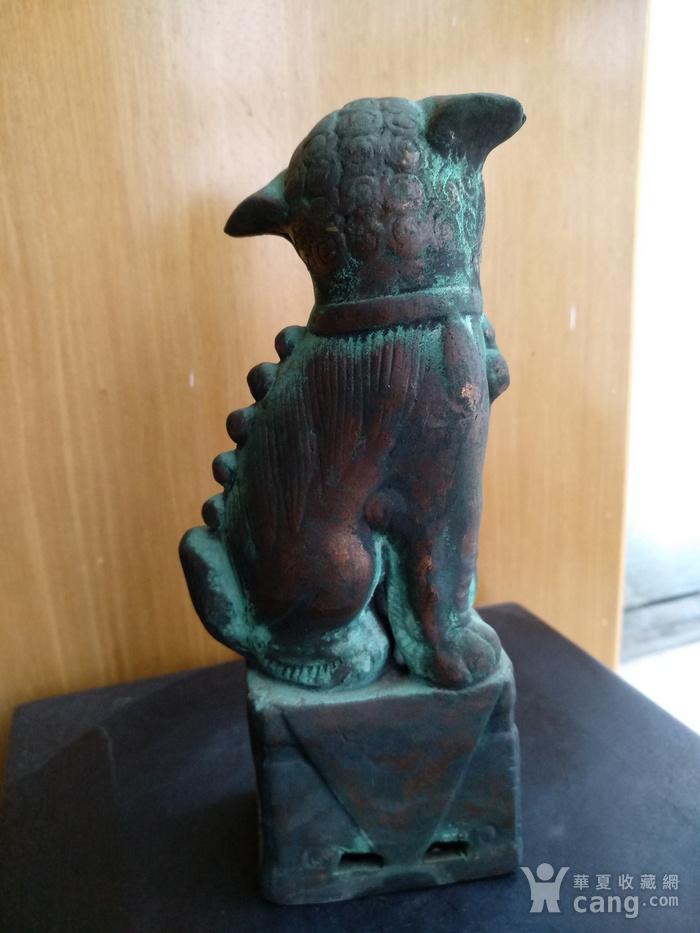 清早瓷胎铜釉仿生坐狮,高:16.8Cm图3