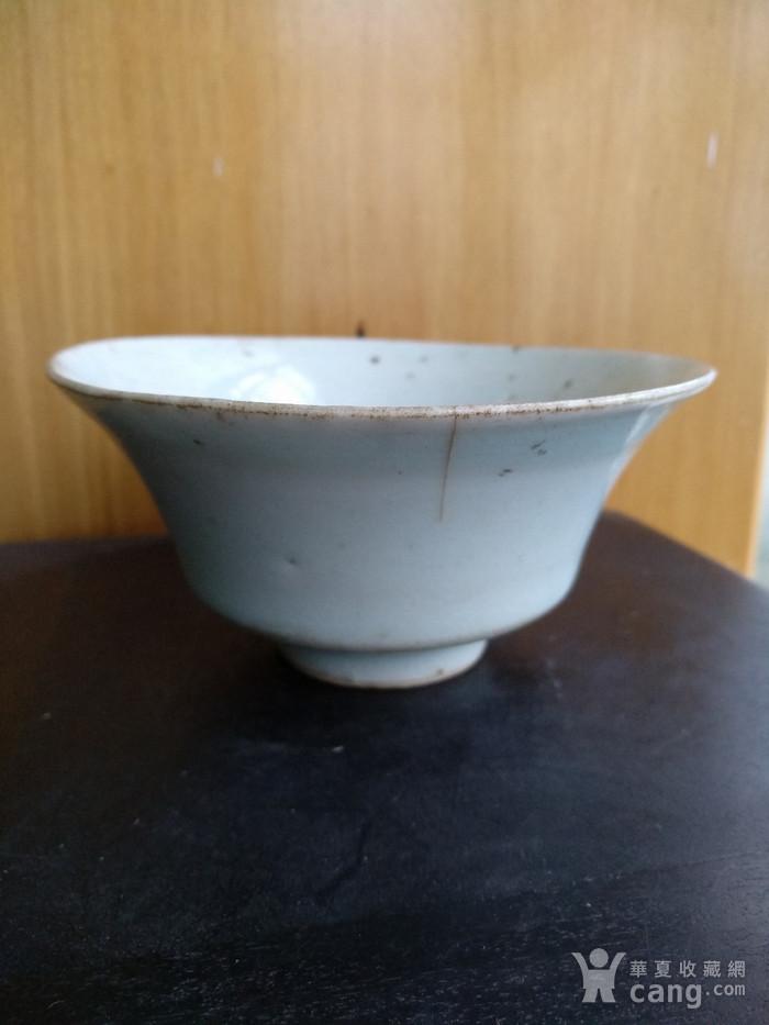 元枢府釉小底足折腰碗,高5.5Cm,口径11.4. 11Cm。图2