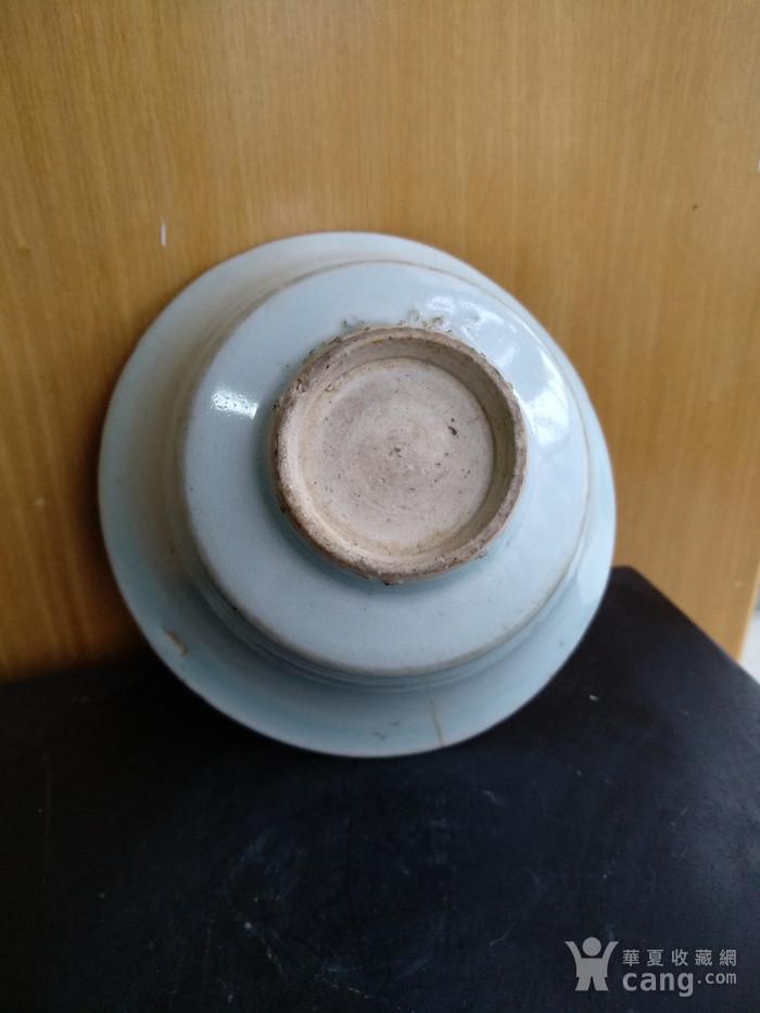 元枢府釉小底足折腰碗,高5.5Cm,口径11.4. 11Cm。图6
