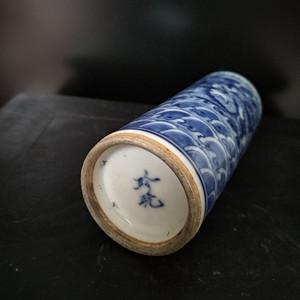 清。青花鼻烟壶,高:9.5Cm,底径3Cm。