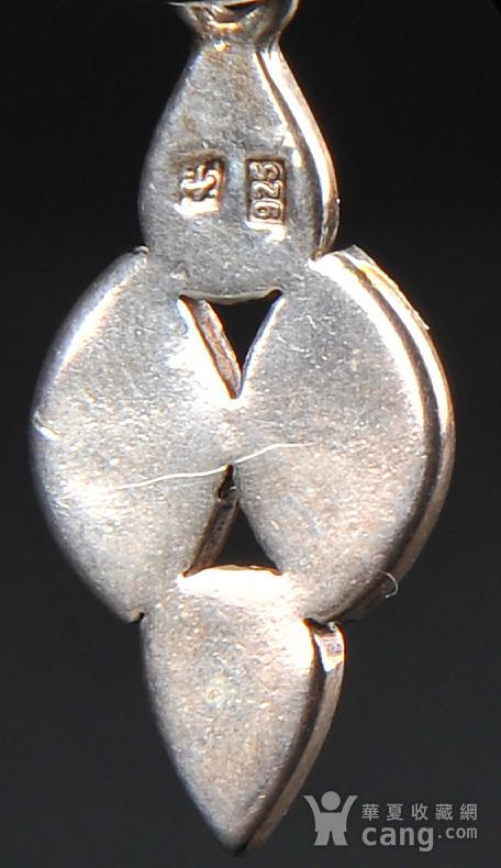 欧美回流 银质镶嵌琥珀耳坠一对图7