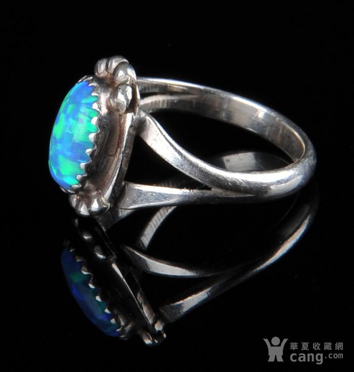 欧美回流 老纯银镶蓝欧珀戒指图2