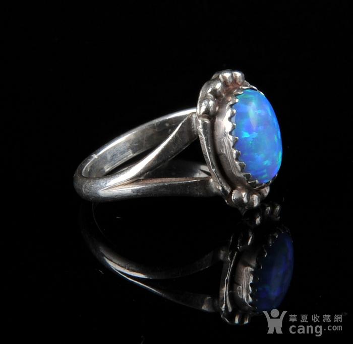 欧美回流 老纯银镶蓝欧珀戒指图4