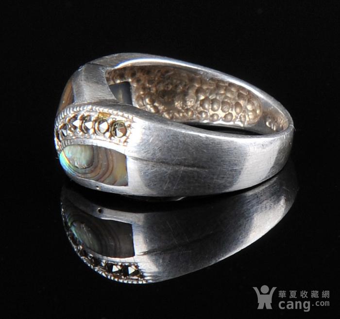 欧美回流 漂亮老纯银镶嵌螺钿戒指图2