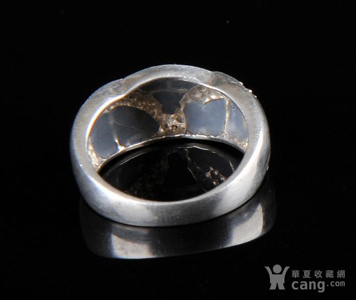 欧美回流 漂亮老纯银镶嵌螺钿戒指图3