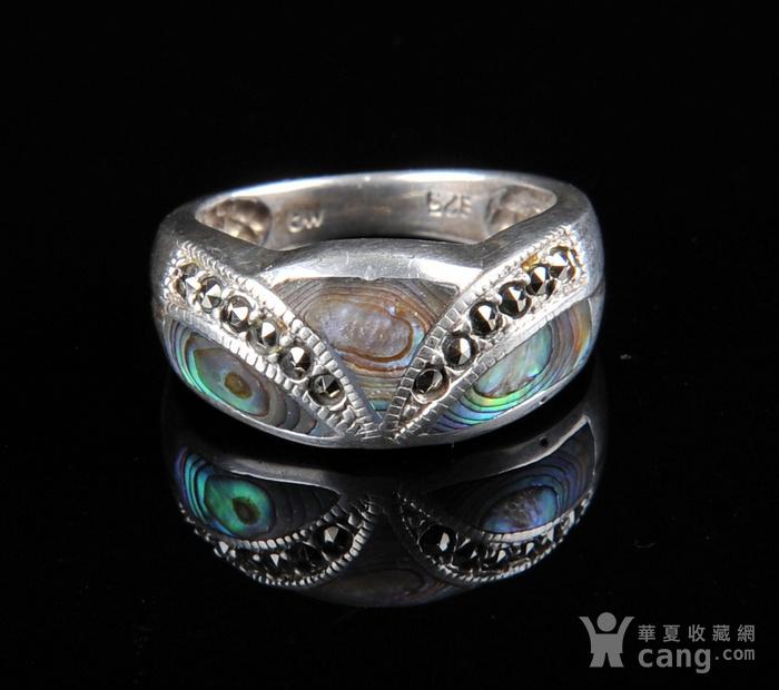 欧美回流 漂亮老纯银镶嵌螺钿戒指图5