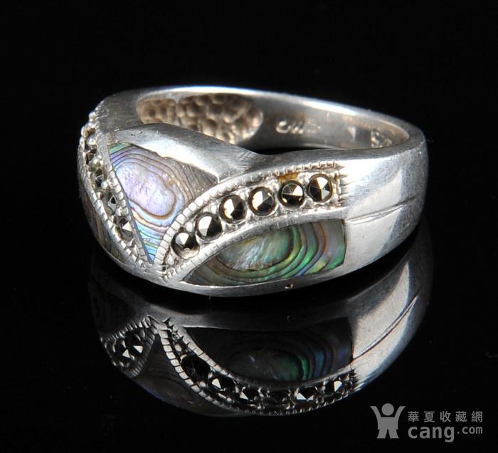 欧美回流 漂亮老纯银镶嵌螺钿戒指图6