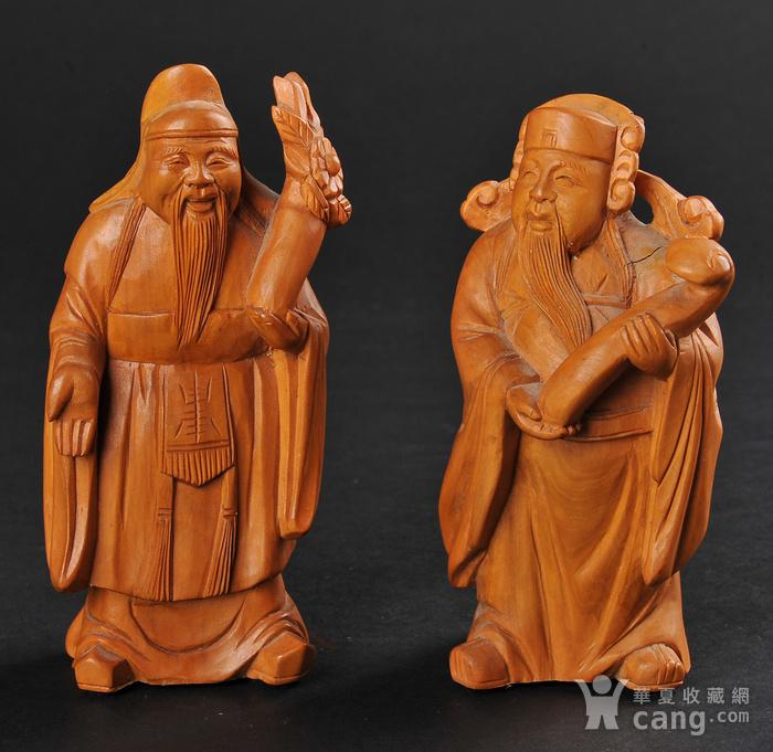 欧美回流 老黄杨木人物雕件两件图1