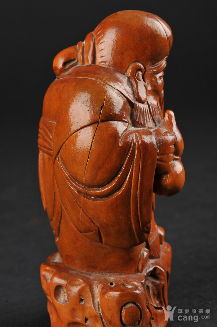 欧美回流 老柚木雕寿星立像图9