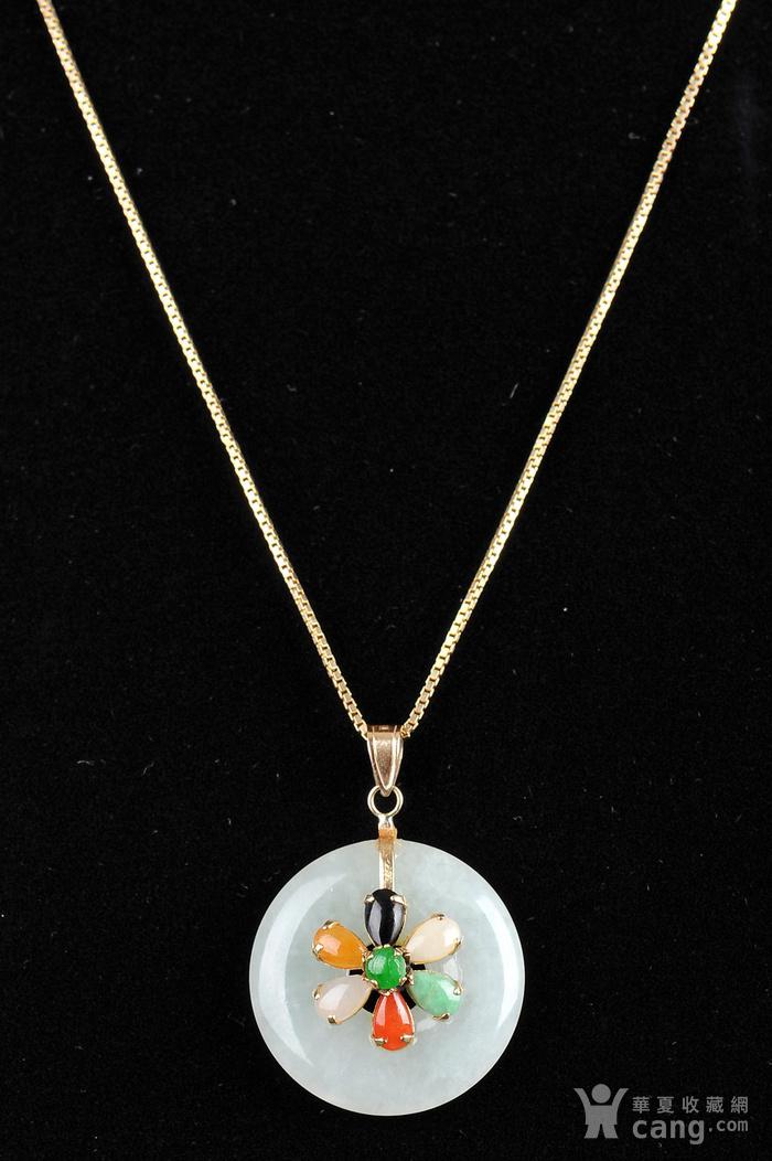 欧美回流 漂亮14K金翡翠平安扣镶嵌五色宝石吊坠项链图3