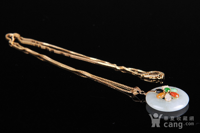 欧美回流 漂亮14K金翡翠平安扣镶嵌五色宝石吊坠项链图4